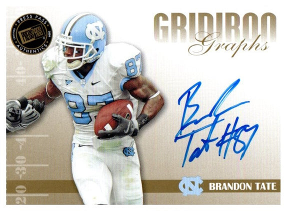 2009 Press Pass Brandon Tate Gridiron Graphs Autograph Buffalo Bills - JM Collectibles