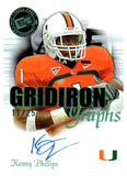 2008 Press Pass Kenny Phillips Gridiron Graphs Autograph #D/25 New York Giants - JM Collectibles