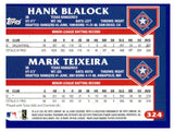 2003 Topps Hank Blalock Mark Teixeira Future Stars Card Texas Rangers - JM Collectibles