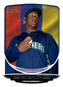 2013 Bowman Prospects Victor Sanchez Hometown Flag Seattle Mariners - JM Collectibles