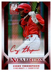 2013 Elite Extra Edition Cory Thompson Red Ink Autograph Card /25 Cincinnati Red - JM Collectibles