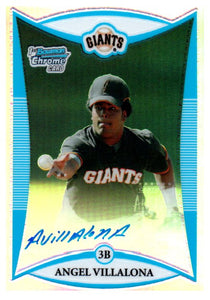 2008 Bowman Chrome Angel Villalona Refractor Autograph /500 San Francisco Giants - JM Collectibles