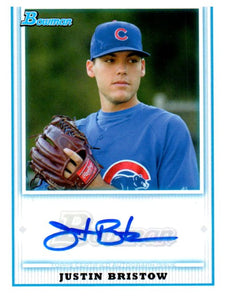2010 Bowman Prospects Justin Bristow Autograph Card Chicago Cubs - JM Collectibles
