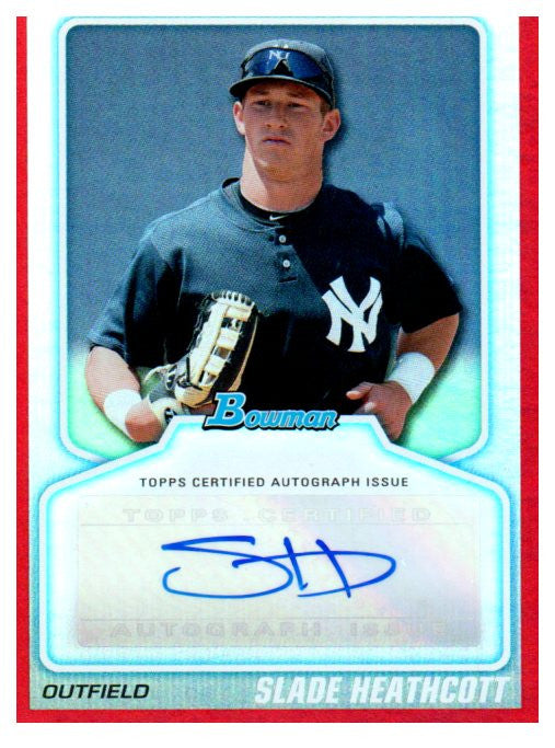 2010 Bowman Draft Slade Heathcott Red Autograph Card /50 New York Yankees - JM Collectibles