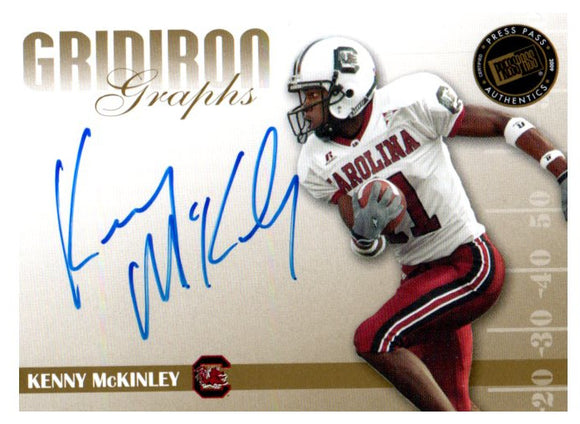2009 Press Pass Kenny McKinley Gridiron Graphs Blue Autograph Broncos - JM Collectibles