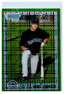 2010 Bowman Chrome Mike Zuanich Green Refractor Rookie Card Colorado Rockies - JM Collectibles