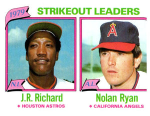 1980 Topps Nolan Ryan J.R. Richard Strikeout Leaders Angels Astros - JM Collectibles
