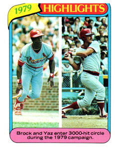 1980 Topps Lou Brock Carl Yastrzemski Highlights Card Cardinals Red Sox - JM Collectibles