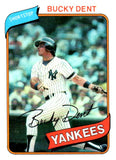 1980 Topps Bucky Dent New York Yankees - JM Collectibles