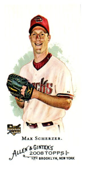 2008 Topps Allen Ginter Max Scherzer Mini Rookie SP Washington Nationals - JM Collectibles