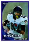 2010 Topps Chrome David Reed Rookie Purple Refractor /555 Baltimore Ravens - JM Collectibles