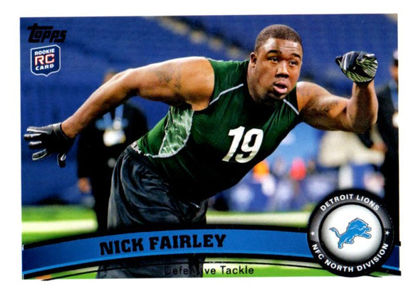 2011 Topps Nick Fairley Rookie Card Detroit Lions - JM Collectibles