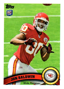 2011 Topps Jon Baldwin Rookie Card Kansas City Chiefs - JM Collectibles