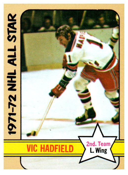 1972 Topps Vic Hadfield All Star Card New York Rangers - JM Collectibles
