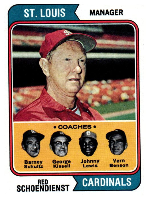 1974 Topps Red Schoendienst Manager St Louis Cardinals - JM Collectibles