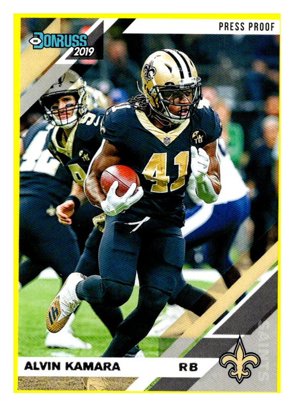 2019 Donruss Alvin Kamara Press Proof Yellow New Orleans Saints