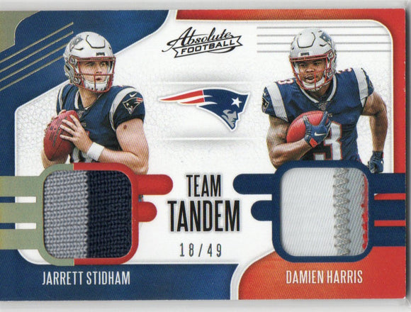 2019 Absolute Team Tandem Jarrett Stidham Damien Harris Rookie Dual Patch Card /49 New England Patriots