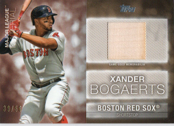 2020 Topps Xander Bogaerts Major League Materials Gold /50 Boston Red Sox