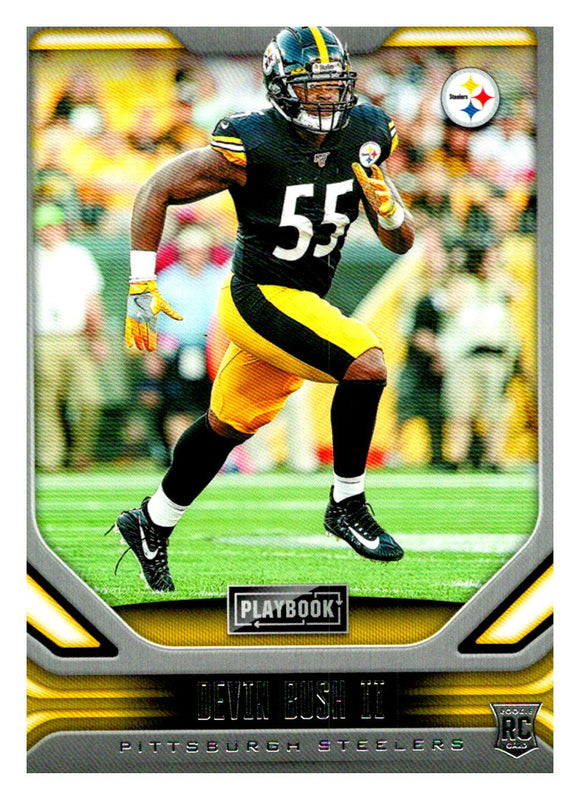 2019 Panini Playbook Devin Bush Rookie Card Pittsburgh Steelers