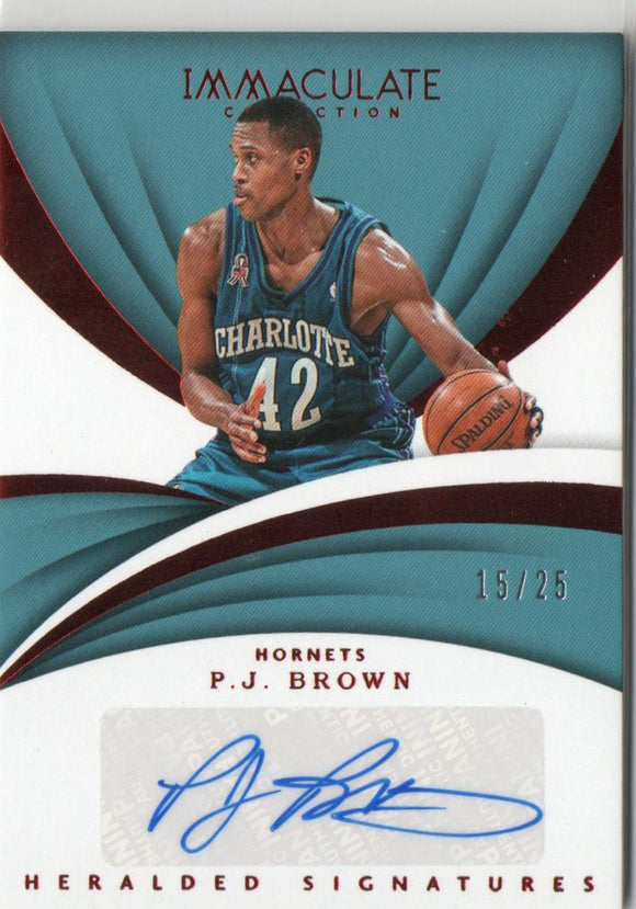 2017-18 Immaculate Collection Heralded Signatures Red /25 PJ P.J. Brown Charlotte Hornets
