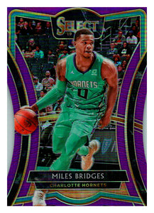2019-20 Panini Select Die Cut Purple Prizm /99 Miles Bridges Charlotte Hornets