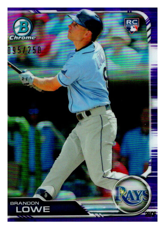 2019 Bowman Chrome Purple Refractor /250 Brandon Lowe Rookie Tampa Bay Rays