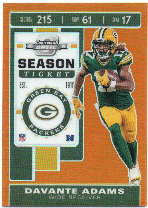 2019 Panini Contenders Optic Season Ticket /50 Davante Adams Green Bay Packers