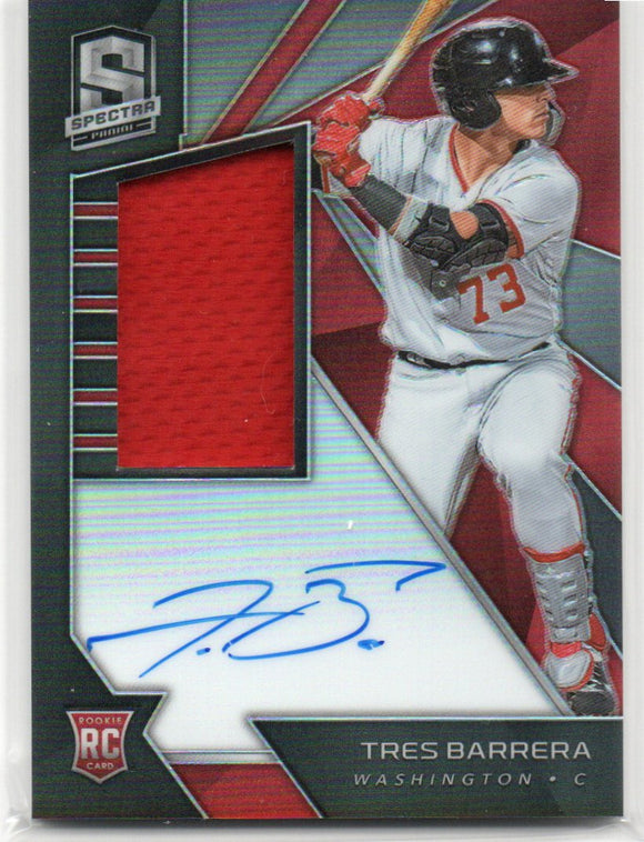 2020 Chronicles Spectra Silver Prizm Jersey /Auto /199 Tres Barrera Rookie Card Washington Nationals