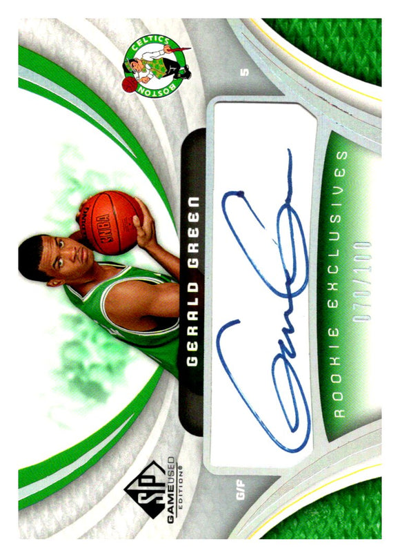 2005-06 Upper Deck SP Game Used Autograph Rookie Exclusive Silver /100 Gerald Green Boston Celtics