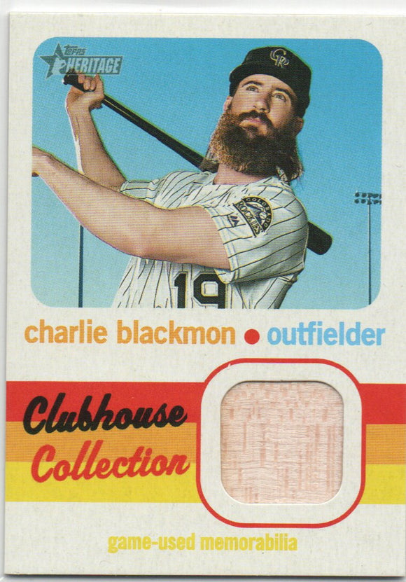2020 Topps Heritage Clubhouse Collection Relic Card Charlie Blackmon Colorado Rockies