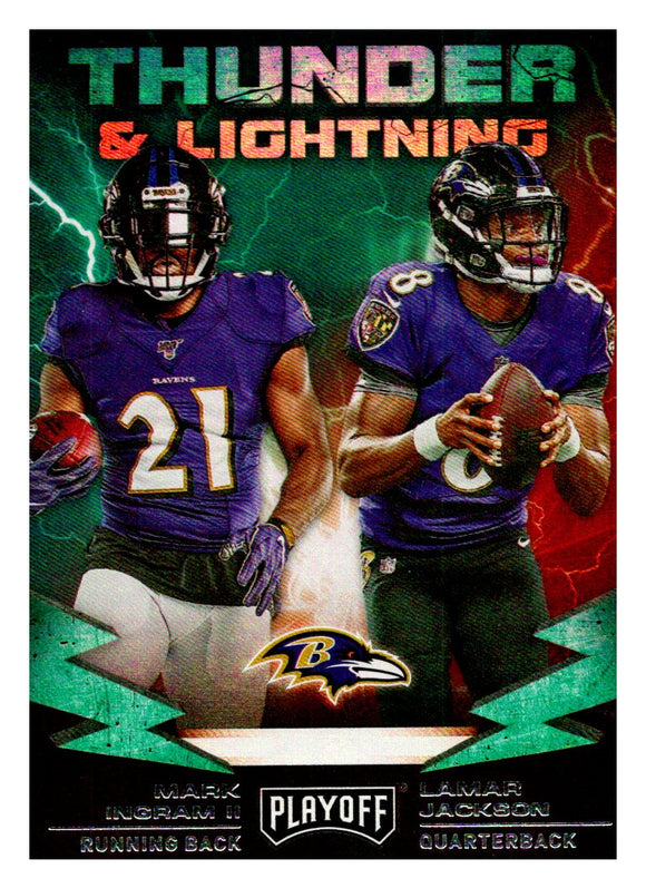 2019 Panini Playoff Thunder & Lightning Lamar Jackson Mark Ingram Baltimore Ravens