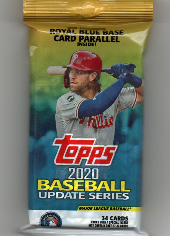 2020 Topps Baseball Update Series Unopened Packs 34 Cards Per Pack Walmart