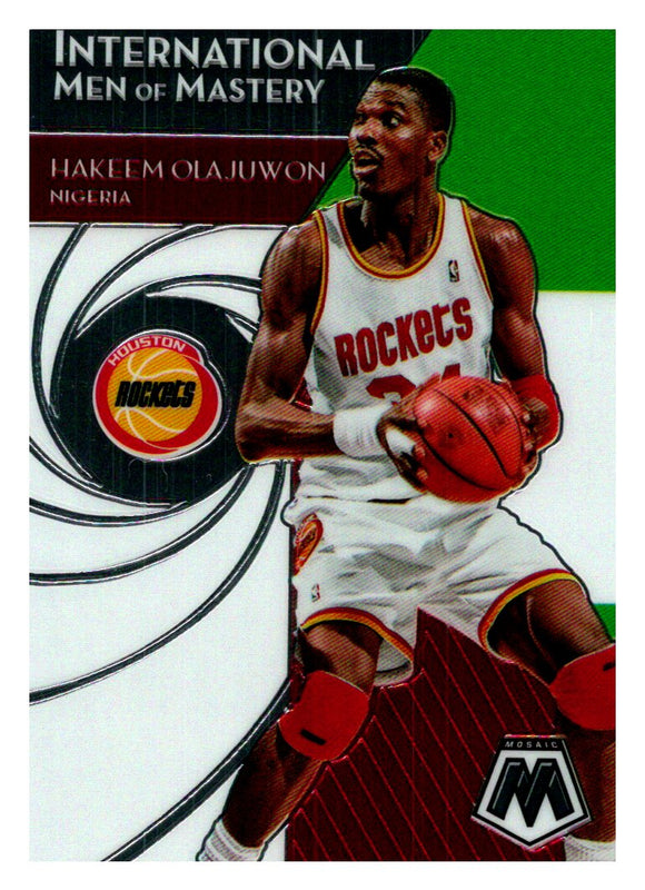 2019-20 Panini Mosaic International Men Of Mastery Hakeem Olajuwon Houston Rockets