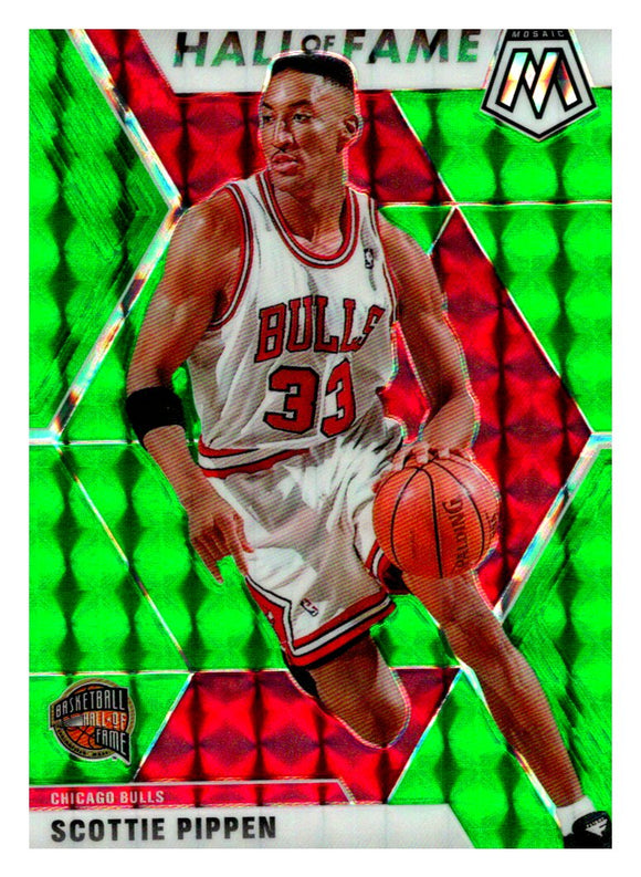 2019-20 Panini Mosaic Green Prizm Hall Of Fame Scottie Pippen Chicago Bulls