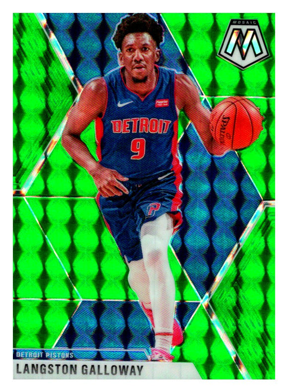 2019-20 Panini Mosaic Green Prizm Langston Galloway Detroit Pistons