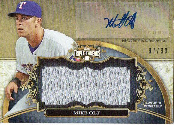 2013 Topps Triple Threads Mike Olt Jersey/Autograph Card #D/99 Texas Rangers - JM Collectibles