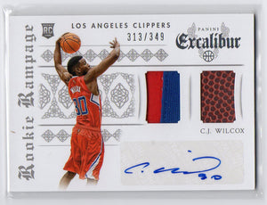 2014-15 Panini Excalibur C.J. Wilcox Rookie 2Clr Patch Ball Auto #D/349 Clippers - JM Collectibles
