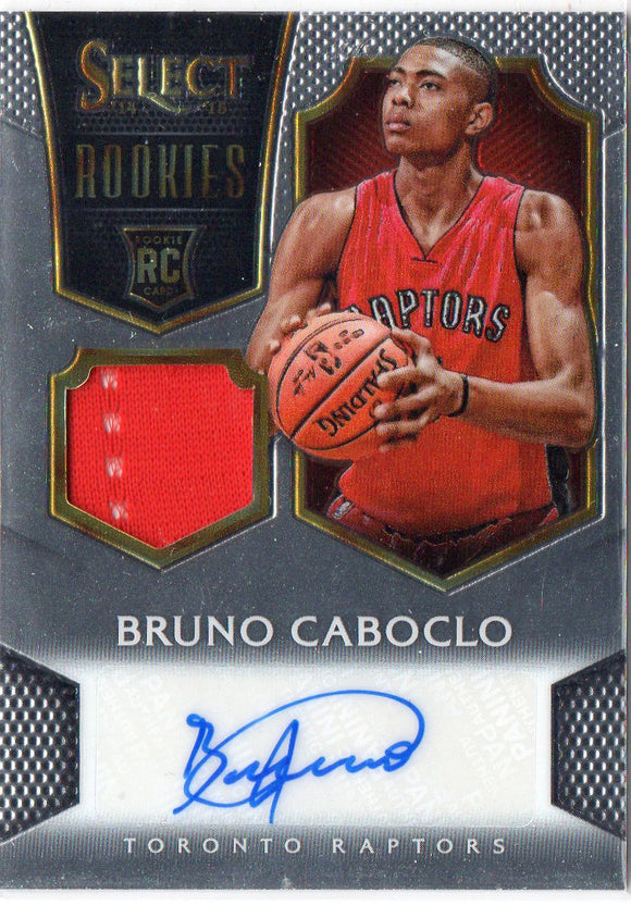 2014-15 Panini Select Bruno Caboclo Jersey/Auto Rookie Card #D/199 Raptors - JM Collectibles