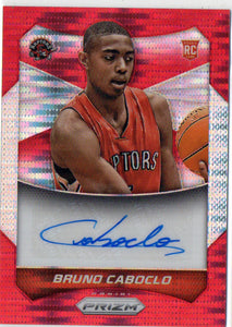 2014-15 Prizm Red Pulsar Bruno Caboclo Autograph Rookie Card #D/149 Raptors - JM Collectibles