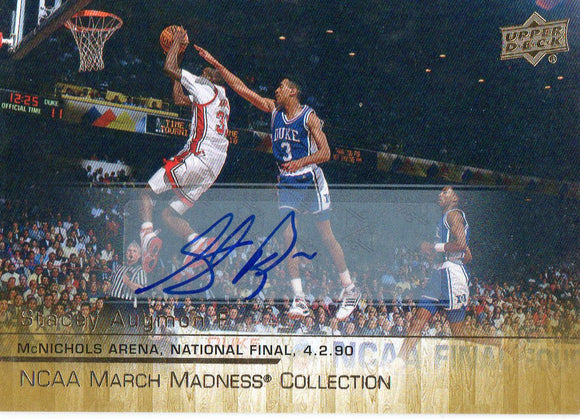 2014-15 Upper Deck Stacey Augmon March Madness Gold Foil Autographed Card UNLV - JM Collectibles
