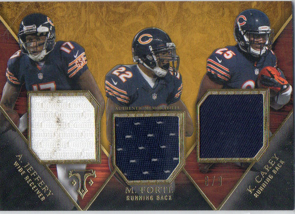 2014 Topps Triple Threads A Jeffery M Forte K Carey Trios Relic Card #D/9 Chicago Bears - JM Collectibles