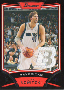 2008-09 Bowman Dirk Nowitzki Game Used Relic Card Dallas Mavericks - JM Collectibles