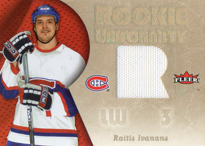 2006 Fleer Ultra Raitis Ivanans Rookie Uniformity Jersey Card Montreal Canadiens - JM Collectibles