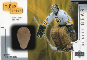 2001-02 UD Top Shelf Gerry Cheevers Game Used Leg Pads Boston Bruins - JM Collectibles
