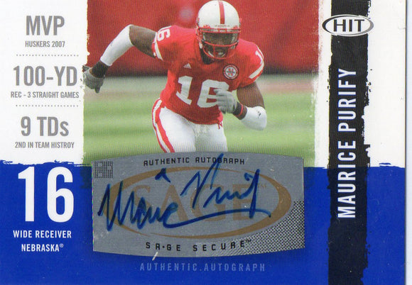 2008 Sage Hit Maurice Purify Autograph Card Cincinnati Bengals - JM Collectibles