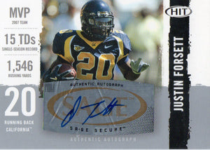 2008 Sage Hit Justin Forsett Autograph Card Seattle Seahawks - JM Collectibles