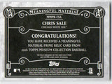 2016 Topps Museum Chris Sale Prime Relic Patch GOLD /35 Boston Red Soxs - JM Collectibles