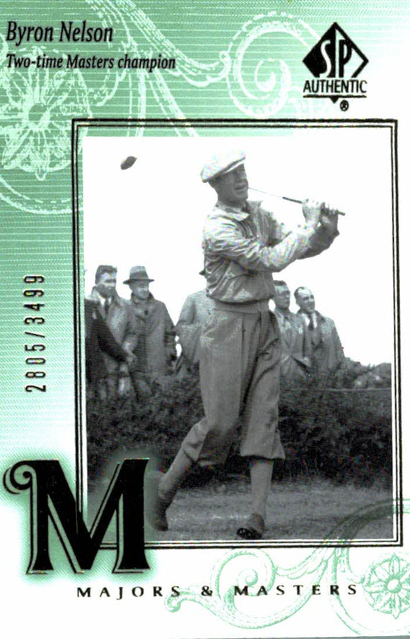 2002 SP Authentic Byron Nelson Majors & Masters /3499 Golf Card - JM Collectibles
