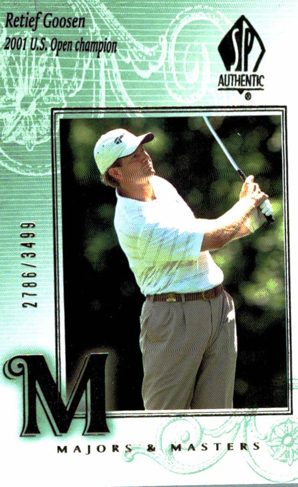 2002 SP Authentic Retief Goosen Majors & Masters /3499 Golf Card - JM Collectibles