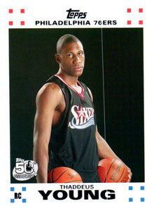 2007-08 Topps Thaddeus Young Rookie Card Philadelphia 76ers - JM Collectibles